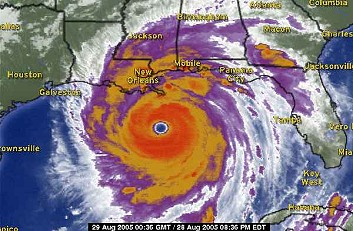 Hurricane Katrina image courtesy of Weather.com