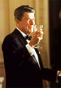 Reagan raises a glass in a toast