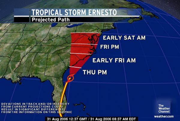 Ernesto's current projected path