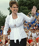 Sarah Palin waves