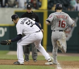Armando Galarraga covers first base
