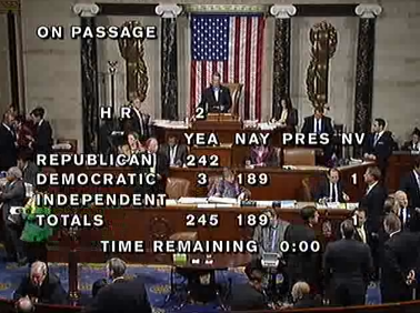 Vote count - House repeal of HCR