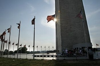 Washington Monument sun