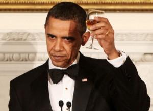 President Obama in toast