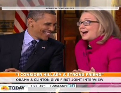 Obama and Clinton laugh
