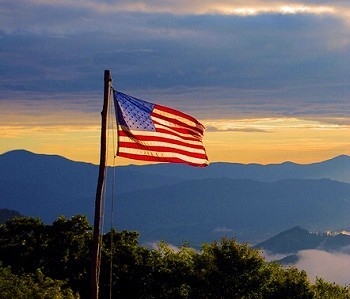 US flag in the NC mountains